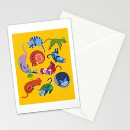 Cats and a Mouse sleeping in the Sun Stationery Cards