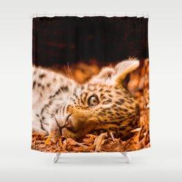 Jaguar Cub Lying in Foliage Shower Curtain