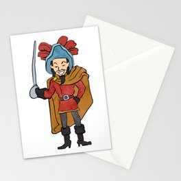 Musketeer Cape with Saber Cartoon Stationery Cards