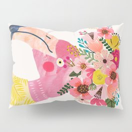 Pink flamingo with flowers on head Pillow Sham