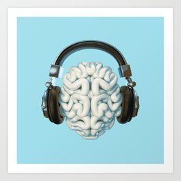 Mind Music Connection /3D render of human brain wearing headphones Art Print
