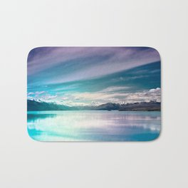 Peaceful Blue Lake Pukaki, New Zealand Bath Mat