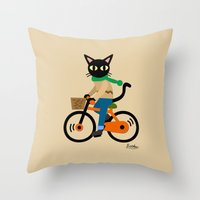 cycling Throw Pillows featuring Whim's cycling by BATKEI
