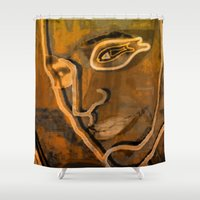 selena gomez Shower Curtains featuring In the Imagine Zone by Menchulica