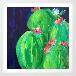 Flowering Prickly Pear Cacus Art Print