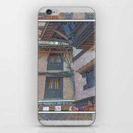 BHAKTAPUR NEPAL BRICKS WINDOWS WIRES iPhone Skin