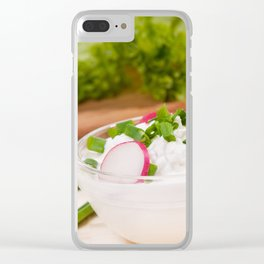 Glass bowl of cottage cheese Clear iPhone Case