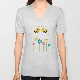 New 2 bees with flowers / yellow Unisex V-Neck