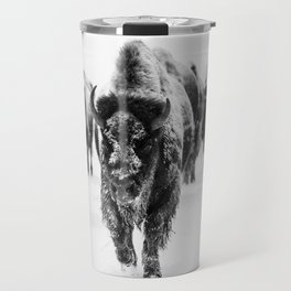 Bisons, black and white Travel Mug