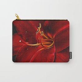 Red Lily On Black Carry-All Pouch