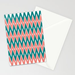 Coral Pink and Teal Zigzag Pattern Stationery Cards