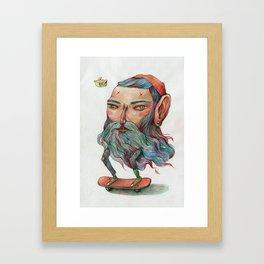 Bluebeard Skater and a takeaway pet Framed Art Print