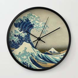 The Classic Japanese Great Wave off Kanagawa Print by Hokusai Wall Clock