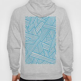 Abstract Teal & white Lines and Triangles Pattern - Mix and Match with Simplicity of Life Hoody