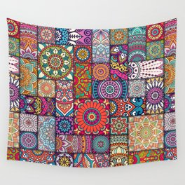 Boho Patchwork Quilt Pattern 2 Wall Tapestry