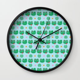 Cute Frogs and Lily Pads Pattern Wall Clock