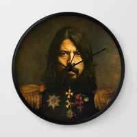 kurt cobain Wall Clocks featuring Dave Grohl - replaceface by replaceface