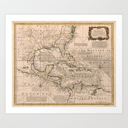 Map of the West Indies by Emanuel Bowen (1720) Art Print