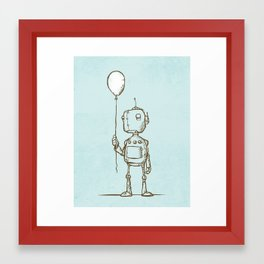 A Robot's Balloon Framed Art Print