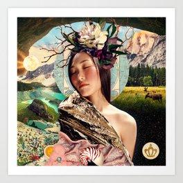 Enchanted Woodland Floral Headpiece Art Print