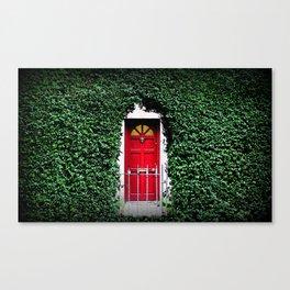 Red Door Winter in Dublin Ireland Christmas Photography Canvas Print