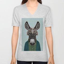 donkey portrait  Unisex V-Neck