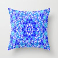 snowflake Throw Pillows featuring Snowflake by Kimberly McGuiness