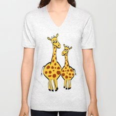 Two Giraffes Unisex V-Neck