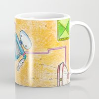 lab Mugs featuring Robot Lab by Cheryl Chiappetta Murray