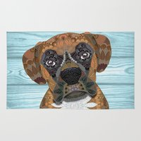 boxer Area & Throw Rugs featuring Cute Boxer by ArtLovePassion