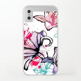 Splashy Flowers Clear iPhone Case