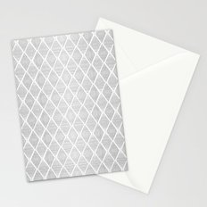 White and Silver Geometric Pattern Stationery Cards