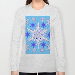 BABY BLUE SNOW CRYSTALS BLUE WINTER ART DESIGN Long Sleeve T-shirt