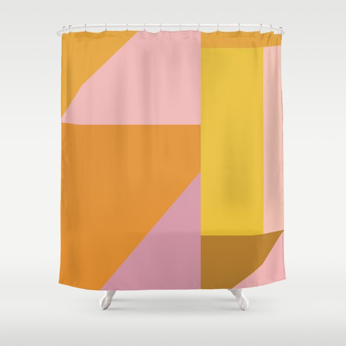 Shapes in Vintage Modern Pink, Orange, Yellow, and Lavender Shower Curtain