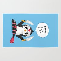 chef Area & Throw Rugs featuring Penguin Chef by Freeminds