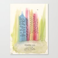 holographic Canvas Prints featuring Holographic Cities by vshop