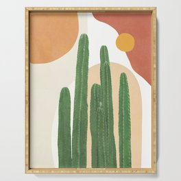 Abstract Cactus I Serving Tray