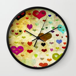 Grunge Hearts Wall Clock