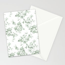 Elegant vintage green white roses shabby floral Stationery Cards