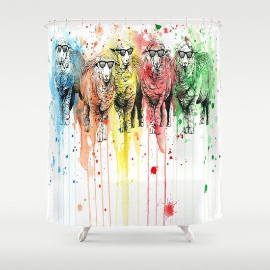 We Are All Sophisticated Sheep Shower Curtain By Psyca
