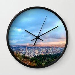 DOWNTOWN PORTLAND - SUMMER Wall Clock