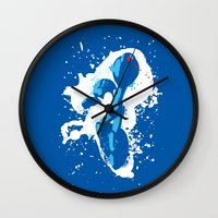 mega man Wall Clocks featuring Mega Man Splattery Design by The Daily Robot
