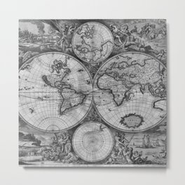 Vintage World Map print from 1689 - black and white Metal Print