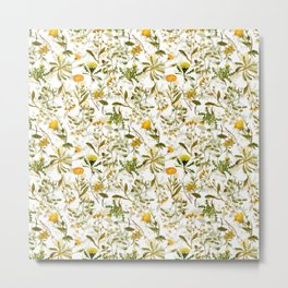 Vintage & Shabby Chic - Yellow Wildflowers Metal Print