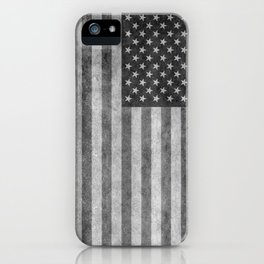 USA flag - Grayscale high quality image iPhone Case