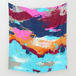 Blue pink mix hand painting Wall Tapestry
