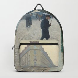 Gustave Caillebotte - Paris Street; Rainy Day Backpack