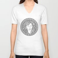 versace V-neck T-shirts featuring GREEK GODDESS by AZZURRO ARTS