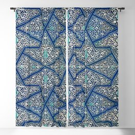 Antique Persian Tile Pattern, Cobalt Blue and White Blackout Curtain