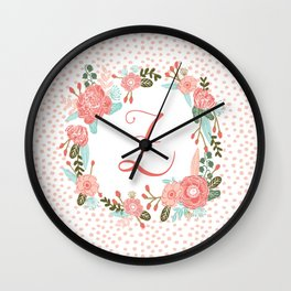 Monogram Z - cute girls coral florals flower wreath, coral florals, baby girl, baby blanket Wall Clock